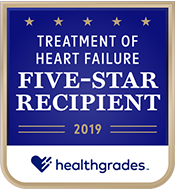 2019 Treatment of Heart Failure Healthgrades Five-star Recipient logo