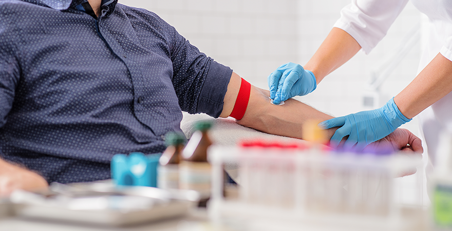 a man having blood drawn