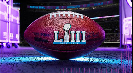Superbowl LIII Logo on a football