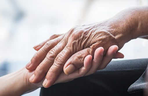 An elderly patient's hand being held